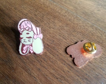 Lolita Rabbit Enamel Pin - Pink Bonnet Bunny - Sweet Lolita Enamel Pin - Hard Enamel Pin - Rose Gold Pin - Limited Edition Pin Brooch
