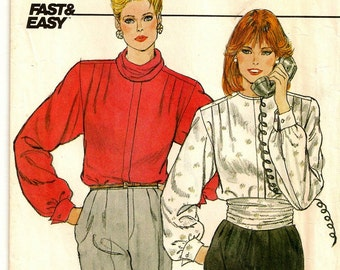"A Dressy Front Pleated, French Cuffed Long Sleeve Blouse, Cowl & Cummerbund Sewing Pattern for Women: Size 8, Bust 31-1/2"" • Butterick 4726"