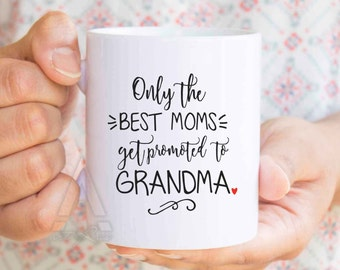 """pregnancy announcement grandparents, """"only the best moms get promoted to grandparents"""" mug pregnancy announcement ideas, new grandma MU319"""