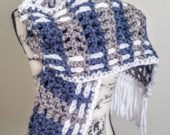 Chunky Crochet Scarf,  Scarf, Open Ended Scarf, Chunky Scarf, Perfect Gift, Scarf with Fringe
