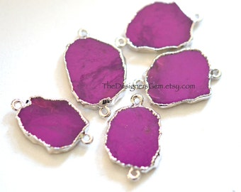 Dyed Purple Turquoise Slice Nugget Connector Edged in Sterling Silver