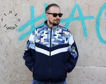 Vintage Crane Sport track top / Mens zip front jacket / Nylon sports windbreaker / Oldschool rain jacket / made in Germany? / 90s L