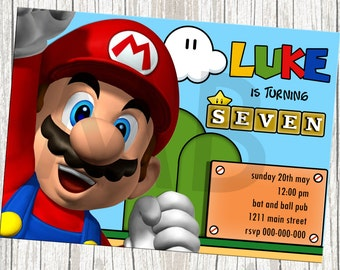 Super Mario Birthday Invitation - With or Without Photo