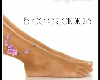 Temporary Tattoo 1 Flower Ankle Tattoo 6 Color Choices