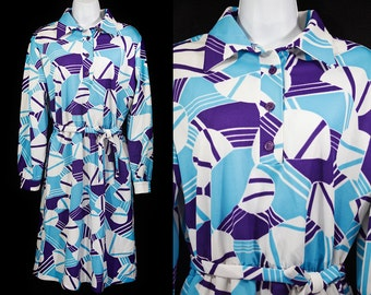 Vintage 60's COUNTRY FAIR Blue & Purple Abstract Pattern Belted Dress L