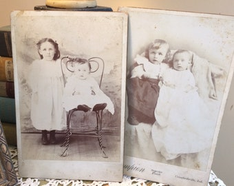 Victorian Cabinet Card Lot Photographs of Children Sister and Brother 1800's