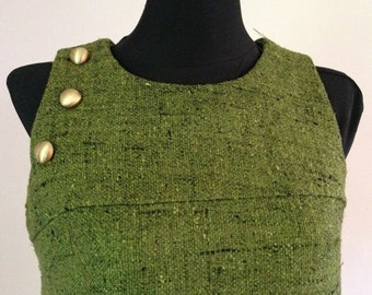 Olive Green Textured Synthetic '60s Sleeveless Dress