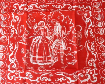 Vintage Valentine's Day hanky red and white hanky heart print hanky courting couple Victorian couple hanky