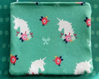 Unicorn floral ribbon teal and pink small make up bag