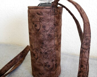 Insulated Water Bottle Carrier - Brown with Swirls and Leaves