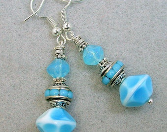 Vintage German Glass Turquoise Blue White Bead Earrings Dangle, Vintage Japanese 1940s RARE Inlaid Aqua Glass Bead Spacer,Silver Ear Wires