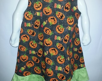 Halloween Jumper, A-line dress, pinafore with bright green ruffle