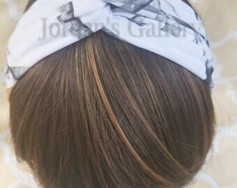 Snowfall Camo Twisted Headband/Camouflage Spandex Headband/Turban Headband/Twisted Yoga Headband/ Headwrap