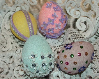 4 vintage Colored Styrofoam Easter Eggs with Ribbons,Sequins and plastic flowers