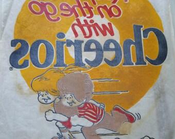 Old School Vintage Iron on Tshirt Transfer Decal Cheerios 1970s Retro Fashion 70s Culture
