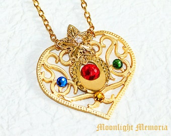 Sailor Moon Necklace - Sailor Moon Cosmic Heart Compact Inspired - Swarovski Crystal Gold Heart Star Sailor Moon Necklace Jewelry Gift