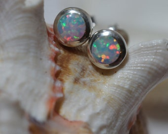 White Opal Studs Earrings Sterling Silver Earrings Opal Post Earrings