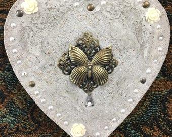 "Mixed Media ""Vintage Butterfly Valentine"" Valentine's Day, Treasure Stone"