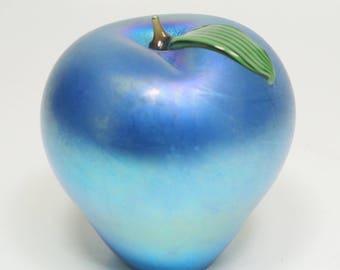 Orient and Flume Iridescent Blue Aurene Art Glass Apple Paperweight Blue Aurene Glass Apple Blue Aurene Glass Fruit Sculpture Blue Aurene