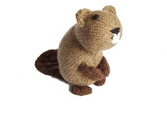 Bernard the Beaver, Knitted Toys, Stuffed Animal, stuffed beaver, Shower Gift, baby, plush beaver toy, toddler toy, nursery decor,