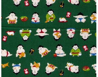 HALF YARD Cosmo Textile - A Sumo and his Kitty on GREEN- AP76411 5C - Japanese Import