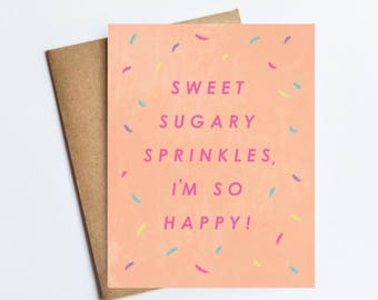 Sugary Sprinkles - NOTECARD - FREE SHIPPING!