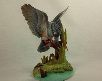 Bird Figurine, Bisque Porcelain, Belted Kingfisher Bird,  Vintage 1980's, Collectible, #6889 by Andrea Sadek