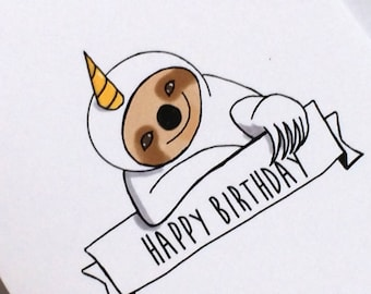 Unicorn Sloth Birthday Card, Doodle Card, made on recycled paper, comes with envelope and seal