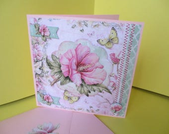 Card 3D pink Hibiscus and yellow butterflies