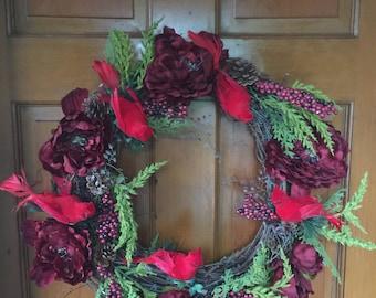 Grapevine Red Bird Wreath