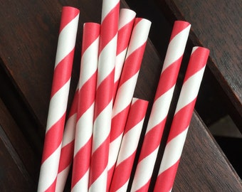 Red Paper Straws - Set of 10