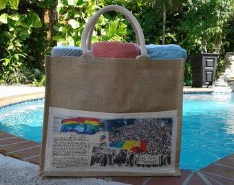 Gay Pride Jute Bag - History of Pride March -Unique Pride Gift