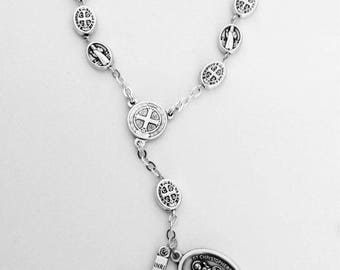 St Benedict car rosary,godparents gift,protection on The  Highway,auto rosary,pocket rosary,catholic gift,car rosary