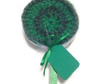 Green Striped Crocheted Nylon Netting Dish Scrubbie Sucker- Two Toned