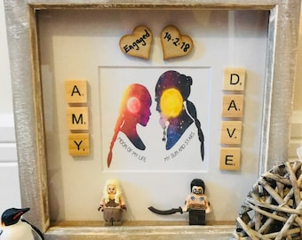 Game of Thrones themed scrabble frame, ideal wedding, engagement, couples gift