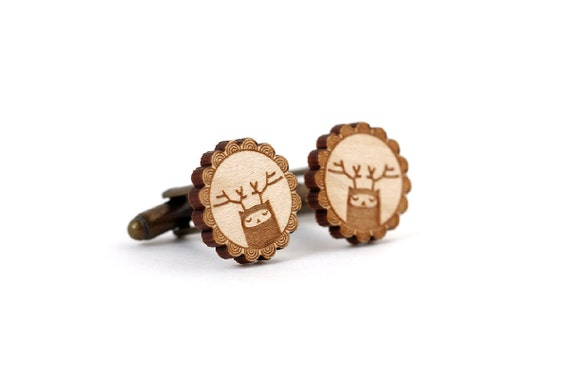 Reindeer cufflinks - deer cufflinks - stag - elk - woodland creature fantasy wedding accessory - lasercut maple wood - groom bestman man dad