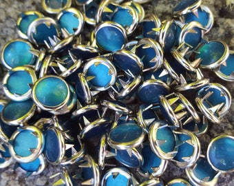 Teal Snaps, Peacock Pearl Snap Fasteners, 12 mm Pearl Snaps, Size 16 Pearl snaps