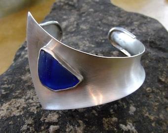 Silver Cuff - Sea Glass Cuff - Argentium Silver - Cuff Bracelet - Cobalt Sea Glass