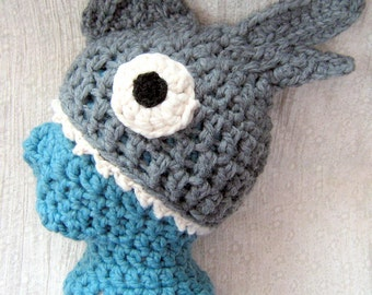 Shark Hat 'Brain Food' Shown In Grey (other colours available) Cosy, Soft, Stretchy Unisex Adult Crocheted Silly Fish Hat, Great Gift