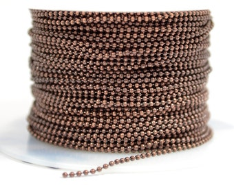 1mm Ball Chain - Antique Copper - CH131 - Choose Your Length