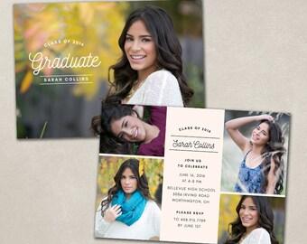 Senior Graduation Announcement Template for Photographers PSD Flat card - Simple Overlay CG040