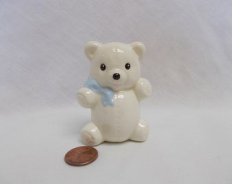White Teddy Bear with blue bow-glazed ceramic bisque