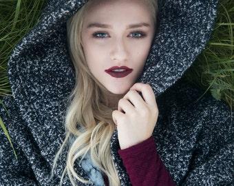 Black Wool Cape | Button Up | Oversized Hood | Kimono Sleeves | Pockets | Asymmetrical Hem