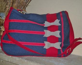 Sac à Main femme, Sac Bandoulière, Sac Toile de Jeans et Cuir,Sac bleu et rouge, Sac à main rétro, Sac style américain, Sac porté épaule