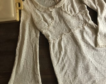 The Perfect Retro Vintage White Lace Babydoll Dress Size small!