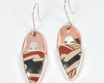 Native American  Silver & Copper Earrings