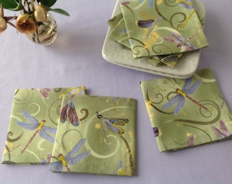 Dragonfly Cloth Cocktail Napkins Coasters Dragonfly Eco Friendly 100% Cotton Cloth Napkins - set of 6 or 8