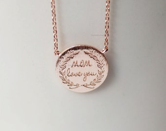 mom love you necklace in rose gold, mothers day gift, gifts for mom, mom gifts, i love you mom necklace, birthday gift