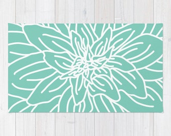 Mint Green Abstract Flower Area Rug - Modern Flower Rug - Turquoise Green and White - Nursery Area Rug - Contemporary Home Decor
