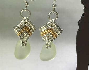Handmade Seaglass, Soft Green, Silver and Gold, Hypoallergenic Earwires